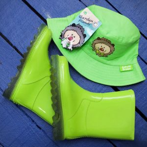 Green Kiddies Boots and Hat Set