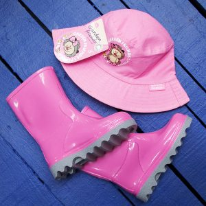 Pink Kiddies Boots and Hat Set