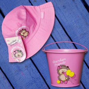 Pink Kiddies Bucket and Hat Set
