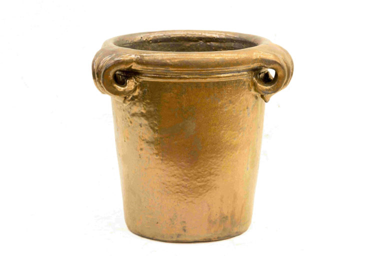 15 UP Handle Planter Gold-Metal