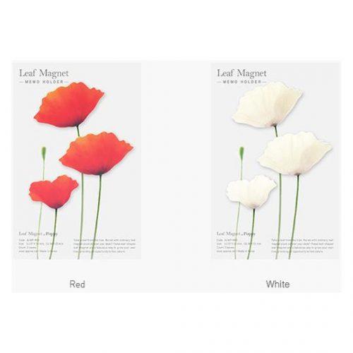 Leaf Magnet Poppy White2