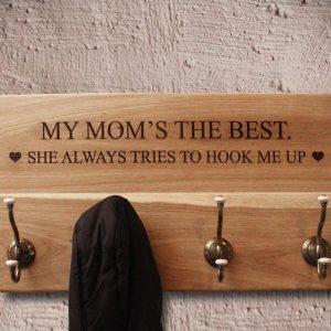 Personalised wooden coat rack