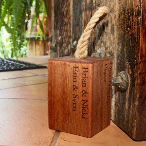 Personalised Kiaat Wooden Door Stop