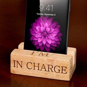 Kiaat Wood Personalised cell phone stand
