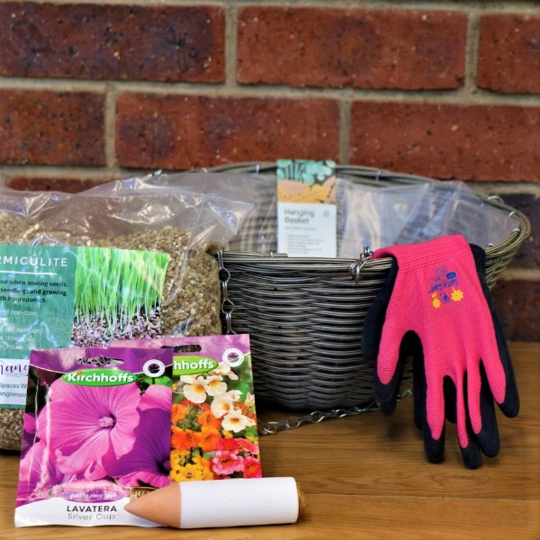 70063484 - hanging basket with gloves,kirchhoffs seeds,Vermiculite and waterplug stick