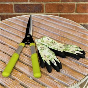 Hedge Shear Straight Blade With Garden Gloves