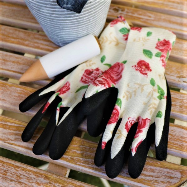 70063805 - White Stripped Pot With kalanchoe ,Waterplug Stick And Garden Gloves (2)