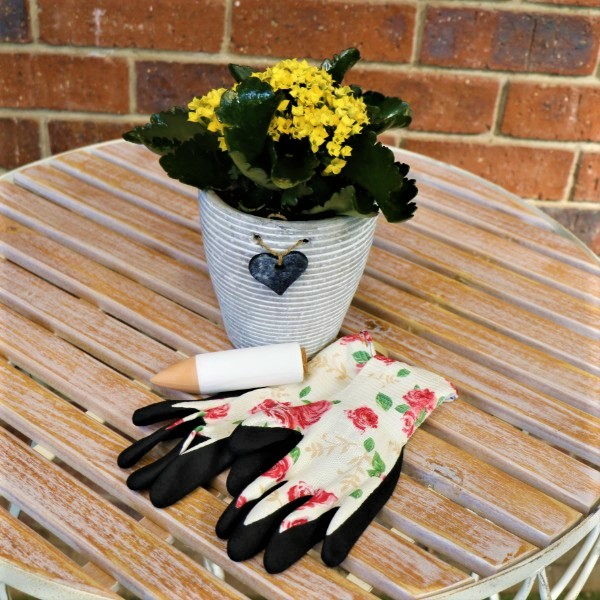 70063805 - White Stripped Pot With kalanchoe ,Waterplug Stick And Garden Gloves