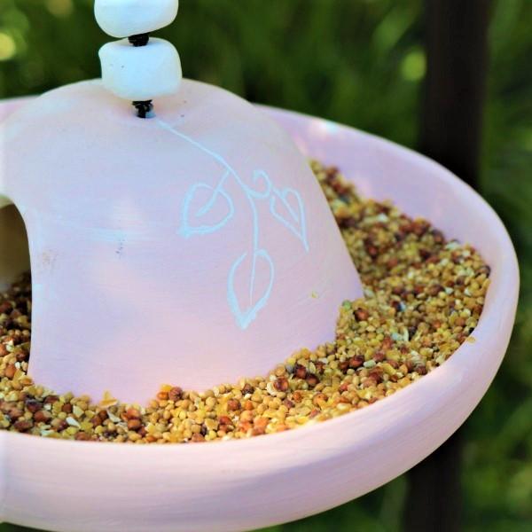70063881 - Gift Bird Feeder Pink Ceramic with Seeds (5)