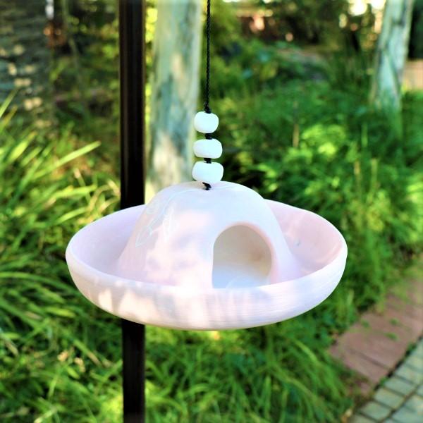 70063881 -Pink Ceramic Bird Feeder with 2kg of wild bird Seeds