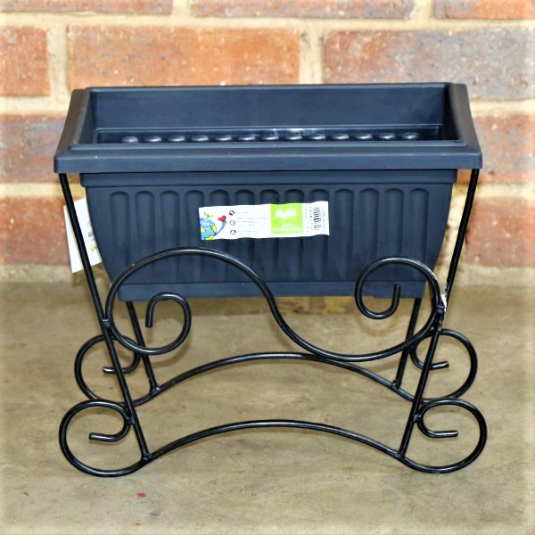 70064376 - Small Planter Box Ridged with Metal Stand