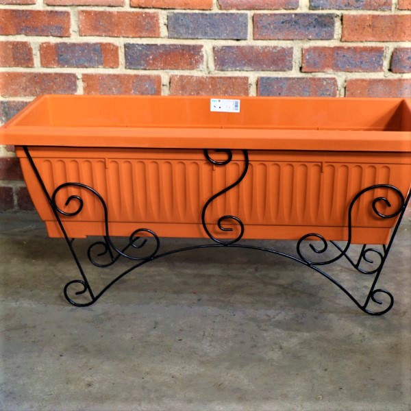 70064378 - Large Planter Box Ridged with Metal Stand (2)