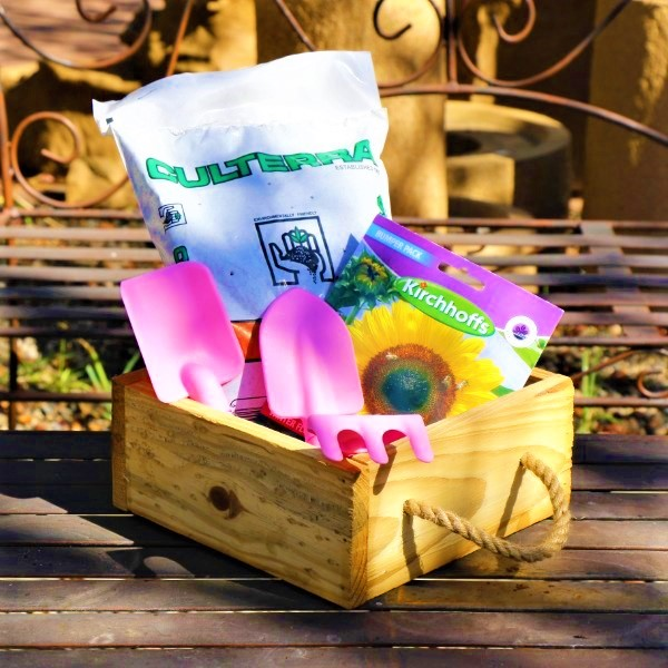 70064721 -Wooden Box With Kiddies Plastic Tool set, Potting Soil And Packet of seeds