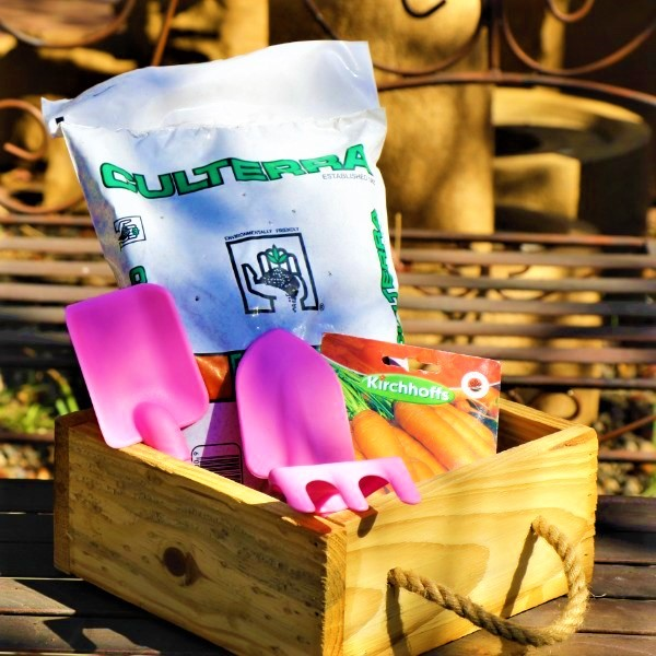 70064722 -Wooden Box With Kiddies Plastic Tool set, Potting Soil And Packet of seeds