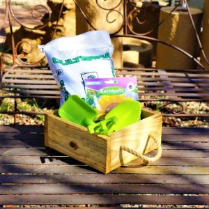 Wooden Box With Kiddies Plastic Tool set, Potting Soil And Packet of seeds
