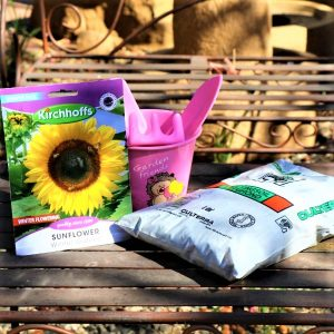 Kiddies Garden Bucket With Potting Soil, Plastic tool set and Packet of seeds