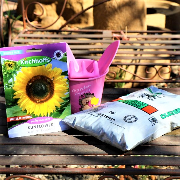 70064725 - Kiddies Garden Bucket With Potting Soil, Plastic tool set and Packet of seeds