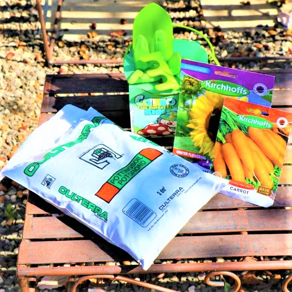 70064730 - Tool Set with Bucket , Potting Soil ,Gloves And two packet of Seeds