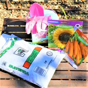 Tool Set with Bucket , Potting Soil ,Gloves  And two packet of Seeds